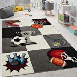 3D hatású szőnyeg gyerekszobába fiúknak sport minta szürke 80x150 cm