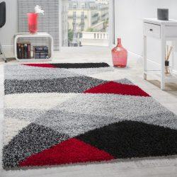 Shaggy szőnyeg geometrikus mintával piros-szürke 160x220 cm