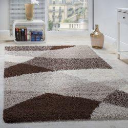 Shaggy szőnyeg geometrikus mintával barna-bézs 140x200 cm