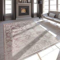 Szatén hatású vintage rojtos design szőnyeg pink 80x150 cm