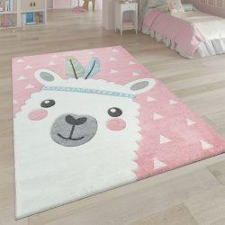 3D hatású játszószőnyeg alpaka mintával rózsaszín 200x290 cm