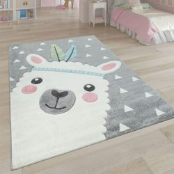 3D hatású játszószőnyeg alpaka mintával szürke 80x150 cm