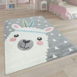 3D hatású játszószőnyeg alpaka mintával szürke 200x290 cm