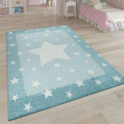 3D hatású puha gyerekszőnyeg játszószőnyeg csillagok design kék 140x200 cm