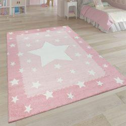 3D hatású puha gyerekszőnyeg játszószőnyeg csillagok design pink 140x200 cm