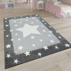3D hatású puha gyerekszőnyeg játszószőnyeg csillagok design szürke 160x230 cm