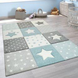 3D hatású szőnyeg gyerekszobába csillag mintával pasztel kék 200x290 cm