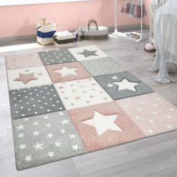 3D hatású szőnyeg gyerekszobába csillag mintával pasztel rózsaszín 140x200 cm