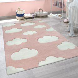 3D hatású puha gyerekszőnyeg játszószőnyeg felhő mintával pink 120x170 cm