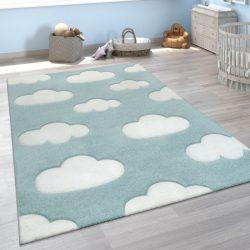 3D hatású puha gyerekszőnyeg játszószőnyeg felhő mintával kék 140x200 cm