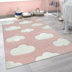 3D hatású puha gyerekszőnyeg játszószőnyeg felhő mintával pink 140x200 cm