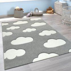 3D hatású puha gyerekszőnyeg játszószőnyeg felhő mintával szürke 120x170 cm