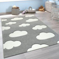 3D hatású puha gyerekszőnyeg játszószőnyeg felhő mintával szürke 140x200 cm