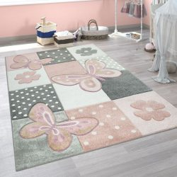 3D hatású puha gyerekszőnyeg játszószőnyeg pasztel rózsaszín pillangó 80x150 cm