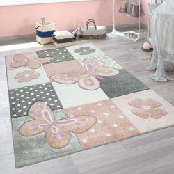 3D hatású puha gyerekszőnyeg játszószőnyeg pasztel rózsaszín pillangó 140x200 cm