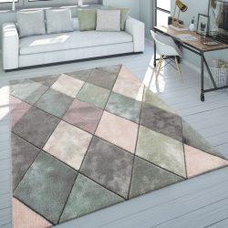 Pasztel 3D hatású design színes szőnyeg gyémánt mintával multikolor 80x300 cm