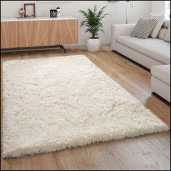 Flokati stílusú shaggy szőnyeg hosszú szálú puha bozontos fehér 120x160 cm