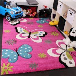 3D hatású szőnyeg gyerekszobába pillangó ciklámen 80x150 cm