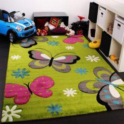 3D hatású szőnyeg gyerekszobába pillangó zöld 140x200 cm