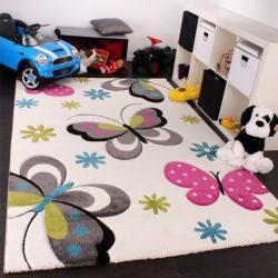3D hatású szőnyeg gyerekszobába pillangó krém 140x200 cm