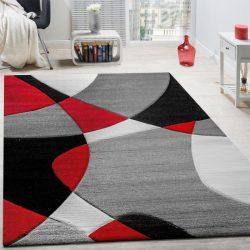 3D hatású design szőnyeg absztrakt piros-szürke 80x300 cm