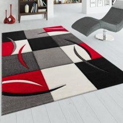 3D hatású design szőnyeg absztrakt piros-szürke kockák 80x300 cm