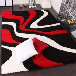 3D hatású design szőnyeg hullám piros-fekete 80x300 cm