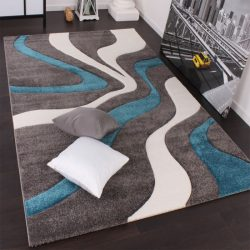 3D hatású design szőnyeg hullám türkiz 80x300 cm