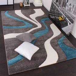3D hatású design szőnyeg hullám türkiz 200x290 cm