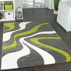 3D hatású design szőnyeg hullám zöld-szürke 80x150 cm