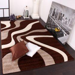 3D hatású design szőnyeg hullám barna-bézs 80x300 cm