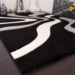 3D hatású design szőnyeg hullám szürke-fekete 80x300 cm