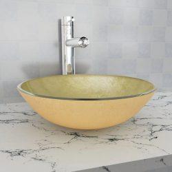 42 cm-es edzett üveg mosdókagyló aranyszínű