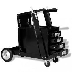 fekete hegesztőkocsi 4 fiókkal