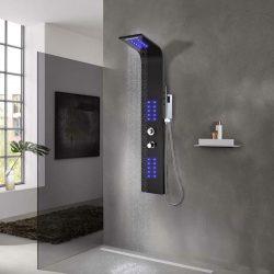 fekete alumínium zuhanypanel 20 x 44 x 130 cm