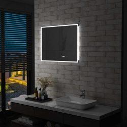 LED-es tükör érintésérzékelővel és időkijelzővel 80 x 60 cm