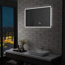 LED-es tükör érintésérzékelővel és időkijelzővel 100 x 60 cm