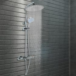 rozsdamentes acél dupla fejű zuhanyszett termosztáttal