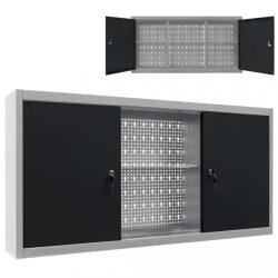 szürke és fekete ipari stílusú fém fali szerszámos szekrény