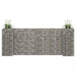 H alakú acéldrót virágtartó gabion 260 x 40 x 100 cm