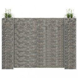 H alakú acéldrót virágtartó gabion 260 x 40 x 180 cm