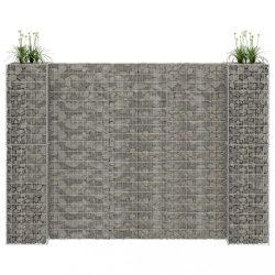 H alakú acéldrót virágtartó gabion 260 x 40 x 200 cm