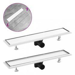 rozsdamentes acél 2 az 1-ben zuhanylefolyó fedéllel 63 x 14 cm