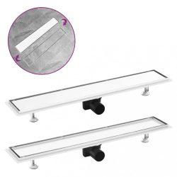 rozsdamentes acél 2 az 1-ben zuhanylefolyó fedéllel 73 x 14 cm