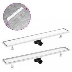 rozsdamentes acél 2 az 1-ben zuhanylefolyó fedéllel 83 x 14 cm
