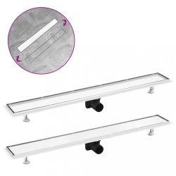 rozsdamentes acél 2 az 1-ben zuhanylefolyó fedéllel 93 x 14 cm