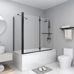 fekete ESG zuhanykabin összecsukható ajtóval 120 x 68 x 130 cm