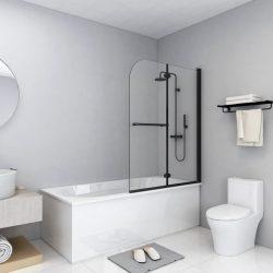 2 paneles fekete ESG zuhanykabin összecsukható ajtóval 95x140cm