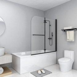 2 paneles fekete ESG zuhanyzó összecsukható ajtóval 120x140 cm