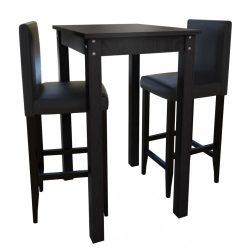 Bárasztal 2 db fekete bárszékkel